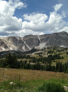 The far left point is Schoolhouse Rock (11,440 ft.), roughly center of the pictured ridge is The Diamond (11,720 ft.), and far right is Old Main (11,755 ft.)